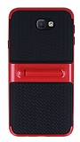Samsung Galaxy J7 Prime Standlı Çizgili Kırmızı Silikon Kılıf