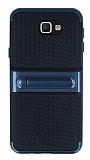 Samsung Galaxy J5 Prime Standlı Çizgili Lacivert Silikon Kılıf