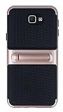 Samsung Galaxy J5 Prime Standlı Çizgili Rose Gold Silikon Kılıf