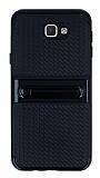 Samsung Galaxy J5 Prime Standlı Çizgili Siyah Silikon Kılıf