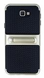 Samsung Galaxy J5 Prime Standlı Çizgili Gold Silikon Kılıf