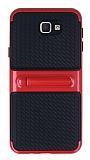 Samsung Galaxy J5 Prime Standlı Çizgili Kırmızı Silikon Kılıf