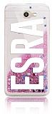Samsung Galaxy J7 Prime / J7 Prime 2 Kişiye Özel Simli Sulu Pembe Rubber Kılıf