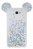 Samsung Galaxy J7 Prime Sulu Silver Taşlı Kulaklı Kılıf