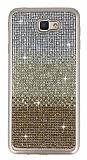 Samsung Galaxy J7 Prime Taşlı Geçişli Gold Silikon Kılıf