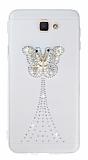 Samsung Galaxy J7 Prime Taşlı Kelebek Şeffaf Silikon Kılıf