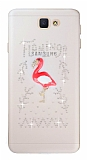 Samsung Galaxy J7 Prime Taşlı Flamingo Şeffaf Silikon Kılıf