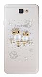 Samsung Galaxy J7 Prime Taşlı Baykuş Şeffaf Silikon Kılıf