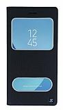 Samsung Galaxy J7 Pro 2017 Gizli Mıknatıslı Çift Çerçeveli Siyah Deri Kılıf