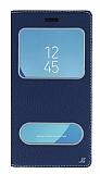 Samsung Galaxy J7 Pro 2017 Gizli Mıknatıslı Çift Çerçeveli Lacivert Deri Kılıf