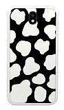 Samsung Galaxy J7 Pro 2017 İnek Desenli Beyaz Kenarlı Silikon Kılıf