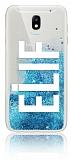 Samsung Galaxy J7 Pro 2017 Kişiye Özel Simli Sulu Mavi Rubber Kılıf