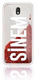 Samsung Galaxy J7 Pro 2017 Kişiye Özel Simli Sulu Kırmızı Rubber Kılıf