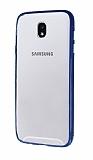 Samsung Galaxy J7 Pro 2017 Metal Tuşlu Lacivert Silikon Kenarlı Şeffaf Kılıf