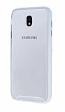 Samsung Galaxy J7 Pro 2017 Metal Tuşlu Beyaz Silikon Kenarlı Şeffaf Kılıf