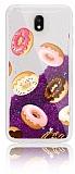 Samsung Galaxy J7 Pro 2017 Simli Sulu Donut Mor Silikon Kılıf