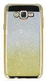 Samsung Galaxy J7 / Galaxy J7 Core Simli Parlak Gold Silikon Kılıf