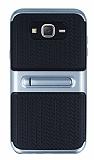 Samsung Galaxy J7 Standlı Çizgili Dark Silver Silikon Kılıf