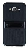 Samsung Galaxy J7 Standlı Çizgili Siyah Silikon Kılıf