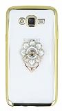 Samsung Galaxy J7 Taşlı Çiçek Selfie Yüzüklü Gold Silikon Kılıf