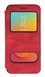 Samsung Galaxy J8 Çift Pencereli Kapaklı Kırmızı Kılıf