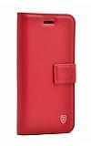 Samsung Galaxy J8 Cüzdanlı Yan Kapaklı Kırmızı Deri Kılıf