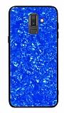 Samsung Galaxy J8 Desenli Silikon Kenarlı Lacivert Rubber Kılıf
