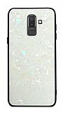 Samsung Galaxy J8 Desenli Silikon Kenarlı Beyaz Rubber Kılıf