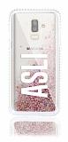 Samsung Galaxy J8 Kişiye Özel Simli Sulu Rose Gold Rubber Kılıf