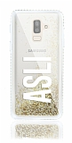 Samsung Galaxy J8 Kişiye Özel Simli Sulu Gold Rubber Kılıf