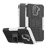 Samsung Galaxy J8 Süper Koruma Standlı Beyaz Kılıf