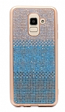 Samsung Galaxy J8 Taşlı Geçişli Mavi Silikon Kılıf
