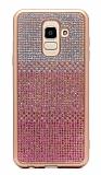 Samsung Galaxy J8 Taşlı Geçişli Pembe Silikon Kılıf