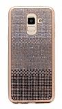 Samsung Galaxy J8 Taşlı Geçişli Siyah Silikon Kılıf