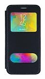 Samsung Galaxy M20 Çift Pencereli Kapaklı Siyah Kılıf