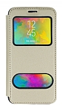 Samsung Galaxy M20 Çift Pencereli Kapaklı Gold Kılıf