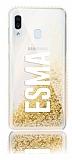 Samsung Galaxy M20 Kişiye Özel Simli Sulu Gold Rubber Kılıf