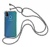 Samsung Galaxy M21 Askılı Şeffaf Siyah-Beyaz Çizgili Silikon Kılıf