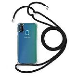 Samsung Galaxy M21 Askılı Şeffaf Siyah Silikon Kılıf