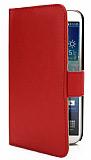 Samsung Galaxy Mega 6.3 Cüzdanlı Yan Kapaklı Kırmızı Deri Kılıf
