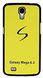 Samsung Galaxy Mega 6.3 Siyah Kenarl� Sert Mat Sar� Rubber K�l�f