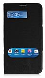 Samsung Galaxy Mega 6.3 Standl� Pencereli Siyah Deri K�l�f