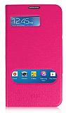 Samsung Galaxy Mega 6.3 Standl� Pencereli Pembe Deri K�l�f