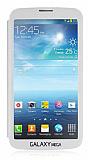 Samsung Galaxy Mega 6.3 Tam Ekran Pencereli Kapakl� Beyaz K�l�f