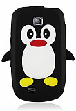 Samsung Galaxy Mini S5570 Penguen Siyah Silikon K�l�f