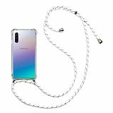 Samsung Galaxy Note 10 Beyaz Çizgili Askılı Şeffaf Silikon Kılıf