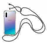 Samsung Galaxy Note 10 Çizgili Askılı Şeffaf Silikon Kılıf
