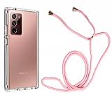 Samsung Galaxy Note 20 Ultra Askılı Şeffaf Pembe Silikon Kılıf