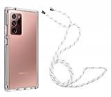 Samsung Galaxy Note 20 Ultra Askılı Şeffaf Beyaz Çizgili Silikon Kılıf