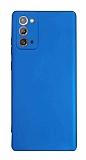 Samsung Galaxy Note 20 Kamera Korumalı Mat Mavi Silikon Kılıf